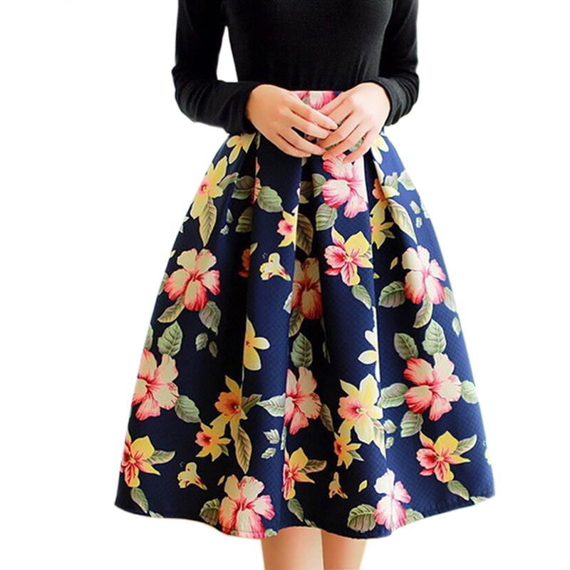 High-Waist-Pleated-Midi-font-b-Skirt-b-font-Women-Houndstooth-font-b-Floral-b-font